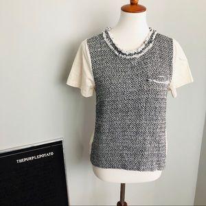 J.Crew Cream/Black Tweed Cotton Silk T-Shirt